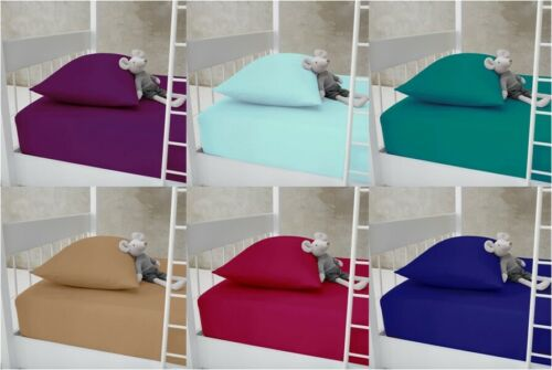Single SMALL Double Super King BUNK BED Plain Dyed PolyCotton FULL Fitted Sheets