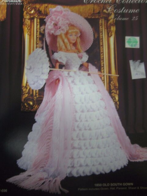 Crochet Paradise Pattern Collector 1850s Southern Ball Gown Booklet Doll Dress For Sale Online