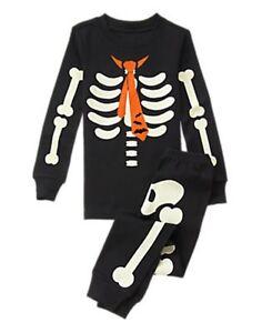 NWT Gymboree Skeleton Costume Glow-in-the-Da<wbr/>rk Gymmies Sleep Set Pajama 6 10 12