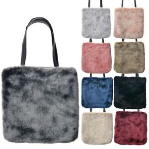 NEW ON TREND LADIES FLUFFY FAUX FUR TOTE TWIN HANDLES SHOULDER BAG ... 53c31aa7e851e