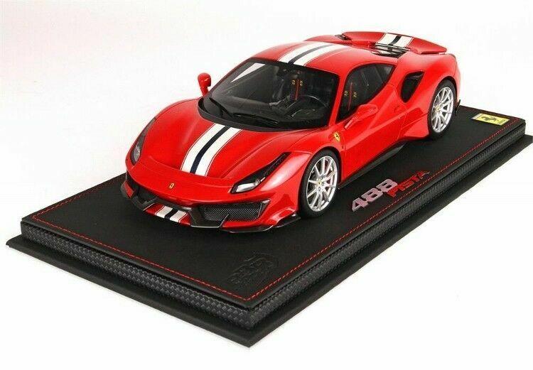 BBR 2018 Ferrari 488 Pista röd Geneve Motor Show 1 18 P18145A New Super nice