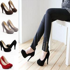 Sexy-Women-039-s-Round-Toe-Plateforme-Stiletto-haut-talon-Chaussures-Fete-Cour-Escarpins-Bal