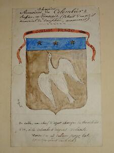 Ecole-FRANCAISE-DESSIN-XIX-BLASON-HERALDIQUE-ARMOIRIES-COLOMBIER-DAUPHINE-1880