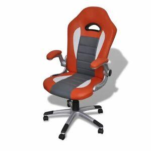 Oficina Naranja Giratoria Cuero Diseño Silla Detalles Moderno Vidaxl De wknP0O