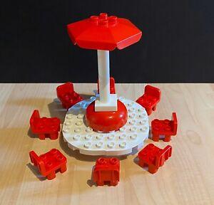 Lego Duplo Custom White Table Red Umbrella Amp 8 Chairs Patio House Furniture Ebay