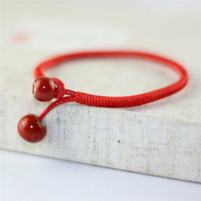 Lucky Red String Bracelets Men Women Hand Braided Ceramic Bead Bracelet Qqq