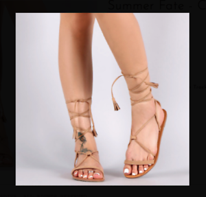 512bf8a6997 Details about TAN CAMEL TASSEL FRINGE STRAPPY LACE UP SANDALS HEELS  STILETTO FASHION NEW HOT