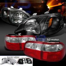 For 99-00 Honda Civic Sedan JDM Style Black Headlight+Red Clear Tail Lamp