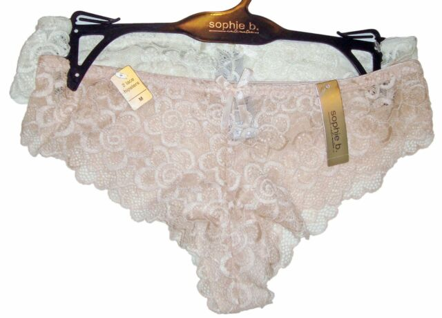 e4e377c45cc9 Sophie B 2 Pair Lace Hipsters Tanga Panties Size Medium Ivory & Peach NWT  $32