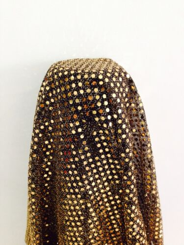 Gold 3mm sequin Black knit shiny sparkly fabric Per Metre M39 Clothing midtex