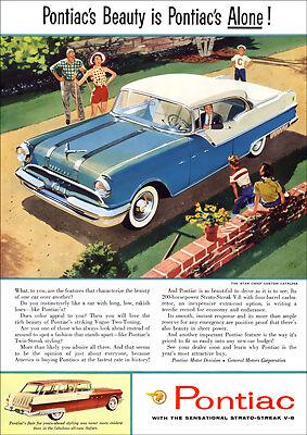 PONTIAC 55 STAR CHIEF CUSTOM CATALINA RETRO A3 POSTER PRINT FROM ADVERT 1955