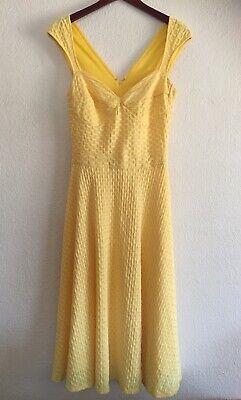 Vestido Amarillo Canario Modcloth Bettie Página Reina De Pinups Retro La La Land Talla 8 Ebay