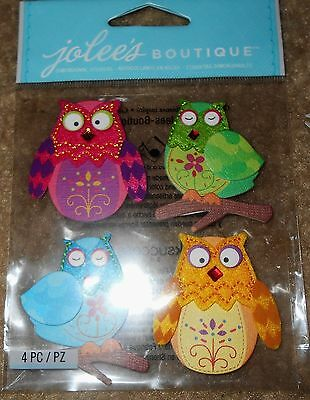 Tree Stitched Colorful Flowers Apples Birds Jolee/'s stickers scrapbook crafts