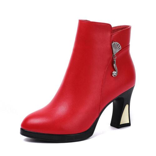 Womens Solid Color Chunky Mid-high Heels Side Zipper Rhinestone Rivet Boots C227