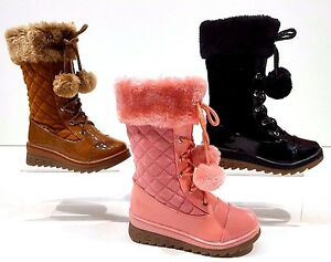 Girls-Toddlers-Winter-High-Side-Zip-warm-Pom-Pom-Boots-Shoes-Size-8-to-Childs-2