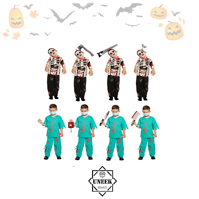 KIDS HALLOWEEN BLOODY DOCTOR FANCY DRESS OUTFIT WORLD BOOK DAY COSTUME 4-12 YRS