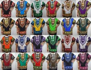 IndéPendant Ce Dashiki D'chemise Africaine Unisexe Hippie Chemisier Haut Homme Femme Vintage Tissu Taille Unique-afficher Le Titre D'origine