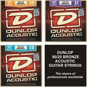 Jim-DUNLOP-80-20-Bronze-Acoustic-Guitar-Strings-Choice-of-3-Gauges