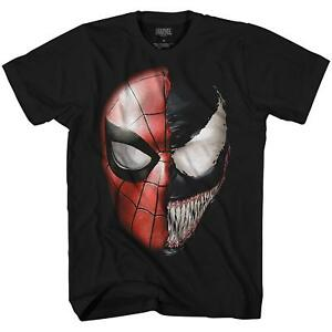 Venom-Spidey-Faces-Spiderman-Avengers-Villain-Tee-Adult-Men-039-s-Graphic-T-Shirt