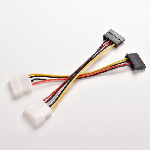 2X 4-Pin Ide Molex To 15-Pin Serial Ata Sata Hard Drive Power Adapter Cable EC