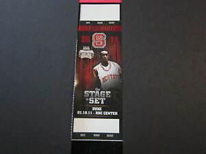 CJ Calvin LESLIE NC STATE Basketball UNUSED Ticket 1/19/11