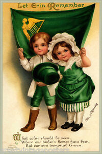 PATRICK DAY VINTAGE POSTER REPRO IRELAND IRISH BOY PLAYING DRUMMER GREETING ST
