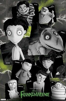 Frankenweenie Movie Poster Names Cast 22x34 Tim Burton Disney Ebay