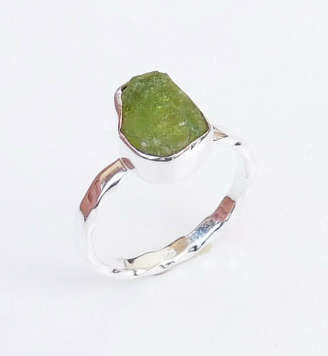 Green Peridot 925 Sterling Silver Ring véritable Péridot brut Gemstone Ring-EB2749