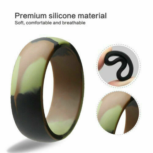 8mm Camouflage Flexible Sports Gym Hunting Silicon Wedding Band Ring