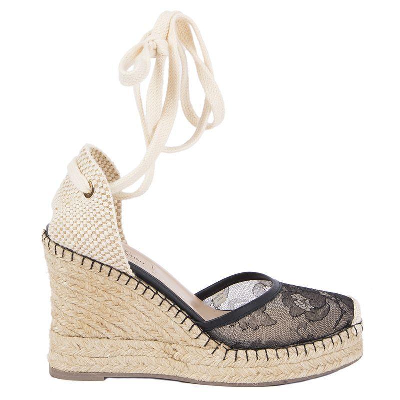 54682 auth VALENTINO black LACE Cork Wedge Espadrilles Sandals shoes 37