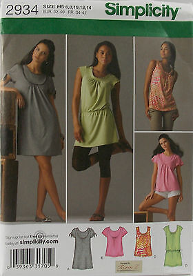 Simplicity Pattern #2934 Misses Knit Mini-Dress Tunic Top Size (6-8-10-12-14)
