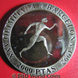 1990-SPAIN-2000-PESETAS-SILVER-PROOF-GREEK-RUNNER-1992-BARCELONA-OLYMPICS-REEDED