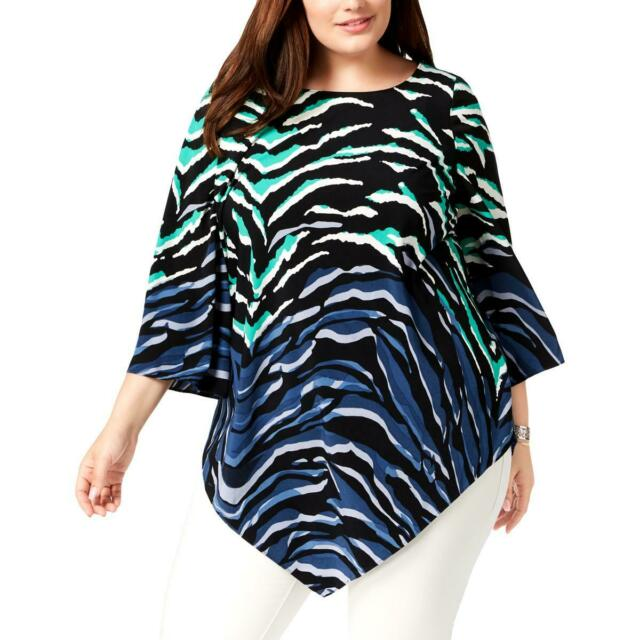 Alfani Womens Plus Printed Handkerchief Hem Pullover Top