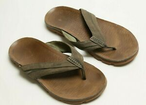 Chaco-Grape-Leaf-Green-Men-039-s-Size-13-Leather-Thongs-1114-Sandals-Flip-Flops