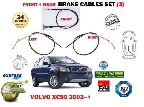 3 /> Delantero Trasero Izquierda Derecha Hand Brake Cable Set Para Volvo XC90 T6 D3 D5 2002