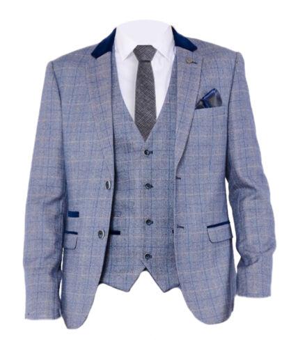 Blue Mens Marc Darcy Check Formal Tweed Blazer Jacket Hilton