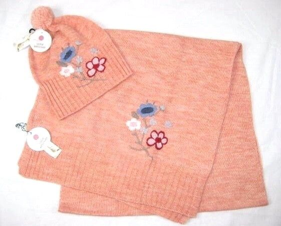 Studio Workshop Womens Orange Wool Hat & Scarf Set Floral Embroidered 2 Pc Knit