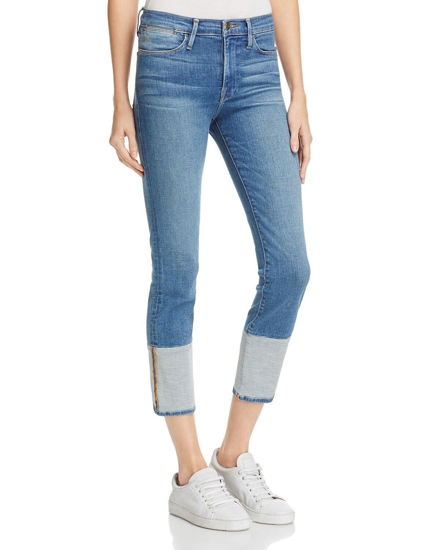 Frame women's le high crop straight jeans sunland contrast panel hem SZ 24