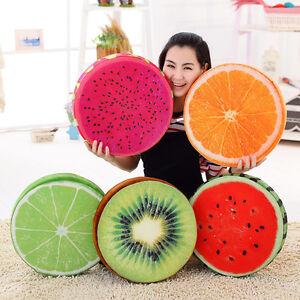 Home-3D-Fruit-Doux-Rond-Oreiller-Peluche-assise-coussin-Orange-Pasteque-decoration