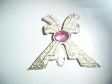 1 Antique Vintage Shoe Clip Button Rhinestone Bow with Jelly Belly Center Accent