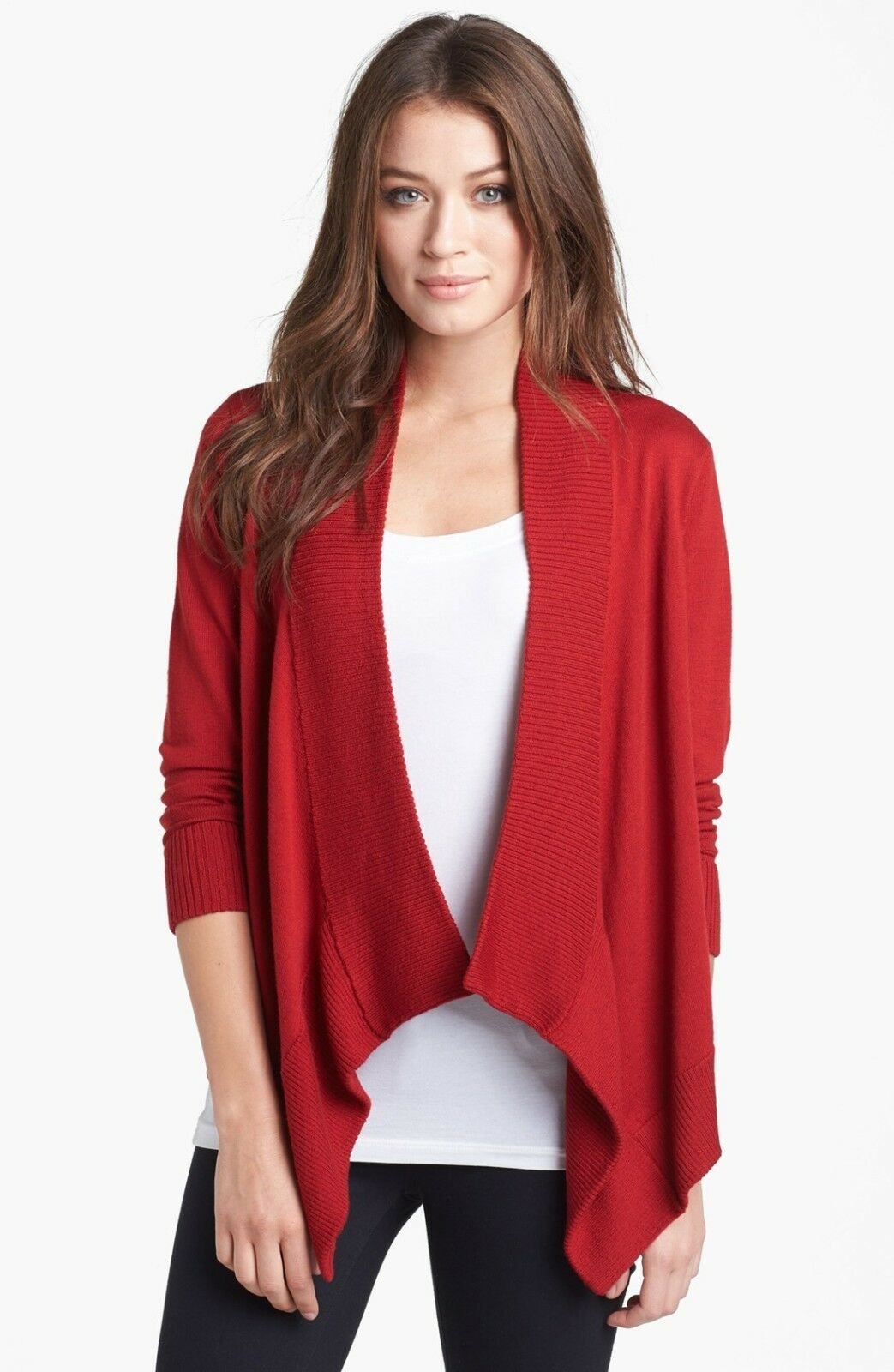 Eileen Fisher Laquer Red Angle Front Merino Wool Cardigan - MSRP