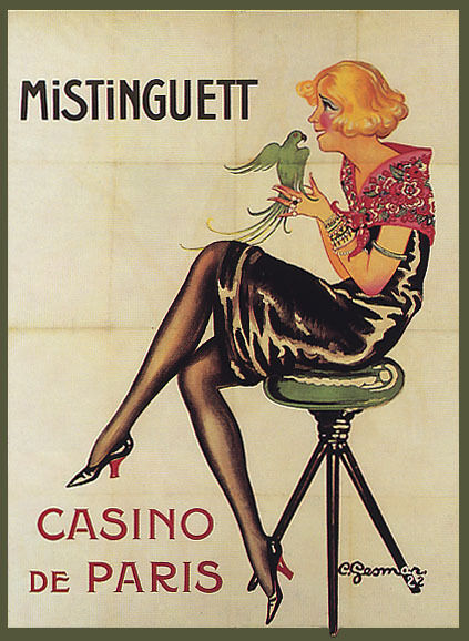 MISTINGUETT FRENCH ACTRESS SINGER WITH BIRD CASINO PARIS VINTAGE POSTER REPRO