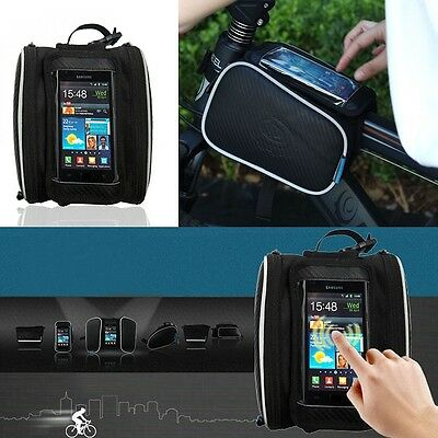 Black ROSWHEEL Bicycle Front Tube Frame Bag for Touch Screen Cell Phone IPhone