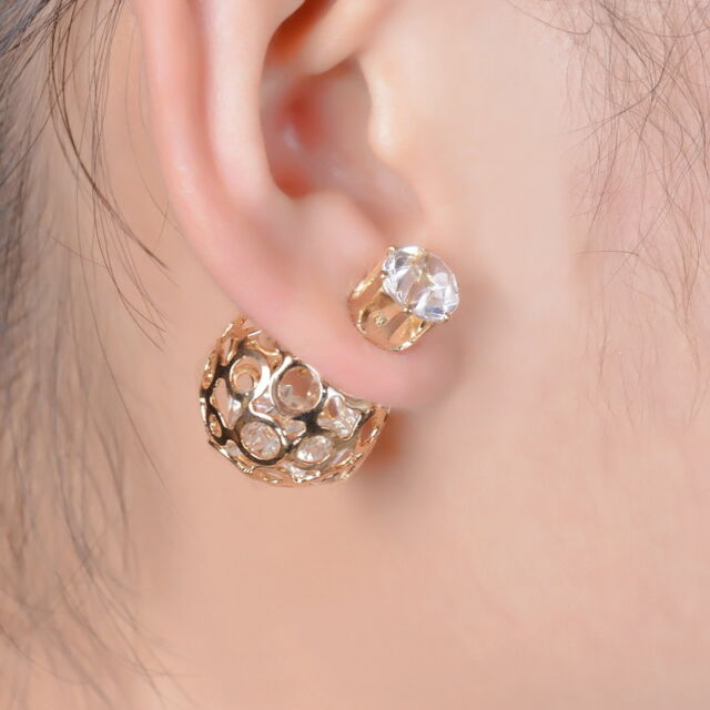 1Pair Women Double Sides Hollow Gold Plated Crystal Ball Ear Studs Earring