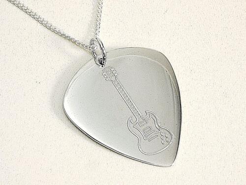 925 Silber Plektrum Kette  45cm x 1,2 mm mit E Gitarrre Design gelasert