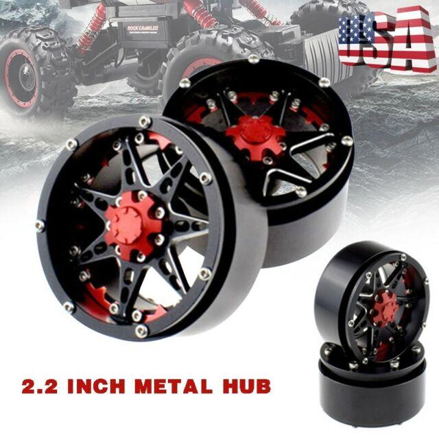 Wheels Rims,Aluminum Alloy Beadlock 2.2 Wheel Rim Hub For 1//10 RC Crawler Axial SCX10 Pack Of 4