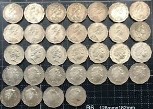 AUSTRALIAN-1969-2018-50-CENT-COIN-COMPLETE-SET-TOTAL-53-COINS-VF-UNC