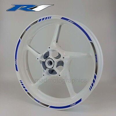 Yamaha YZF-R1 motorcycle wheel decals stickers rim stripes Laminated yzf r1 blue
