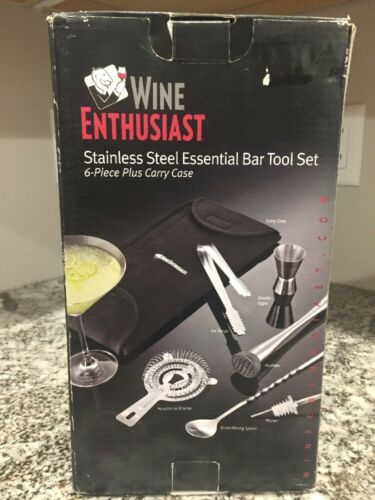 NEW Wine Enthusiast Stainless Steel Essential Bar Tool Set 6 piece /& Carry Case
