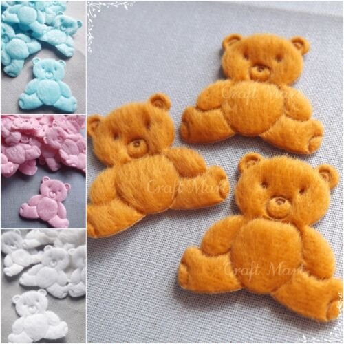 APPLIQUES bear teddy soft felt sewing cardmaking crafts kids baby patch x3